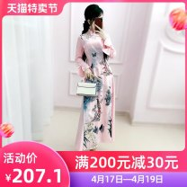 Dress Autumn 2020 Pink S M L XL longuette singleton  Long sleeves commute stand collar High waist other Socket A-line skirt routine Others 25-29 years old Type X The fate of July 7 Retro Three dimensional decorative zipper with bow and pleat stitching QB0Q103 91% (inclusive) - 95% (inclusive)
