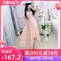 Dress Summer of 2019 S M L XL longuette singleton  elbow sleeve commute V-neck High waist Solid color Socket Irregular skirt routine Others 25-29 years old Type X The fate of July 7 Retro Three dimensional decorative strap zipper More than 95% polyester fiber Pure e-commerce (online only)