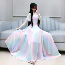 Dress Summer 2020 rainbow S M L XL longuette singleton  Short sleeve commute V-neck High waist Decor Socket Big swing routine Others 25-29 years old Type X The fate of July 7 Retro Three dimensional decorative zipper lace with pleated stitching QB0Q56 More than 95% polyester fiber Polyester 100%