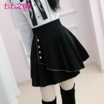 skirt Winter of 2019 S M L XL black Short skirt commute High waist A-line skirt Solid color Type X 25-29 years old QA9Q171 51% (inclusive) - 70% (inclusive) The fate of July 7 Viscose Pleated three-dimensional decorative nail bead zipper splicing Exclusive payment of tmall