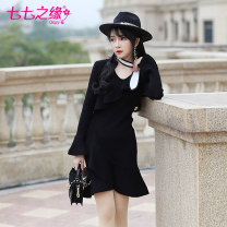 Dress Winter of 2018 black S M L Short skirt singleton  Long sleeves commute V-neck High waist Solid color Socket Ruffle Skirt routine Others 25-29 years old Type X The fate of July 7 Retro 31% (inclusive) - 50% (inclusive) polyester fiber Pure e-commerce (online only)