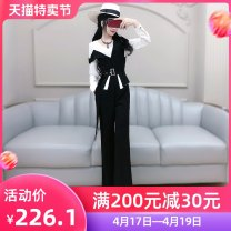 Casual pants black and white S M L XL Autumn 2020 trousers Jumpsuit High waist original routine 25-29 years old QB0K10 The fate of July 7 pocket Polyester 92% polyurethane elastic fiber (spandex) 8% Exclusive payment of tmall