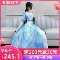 Dress Summer 2020 blue S M L XL longuette singleton  Short sleeve commute V-neck High waist Animal design Socket Big swing bishop sleeve Others 25-29 years old Type X The fate of July 7 Retro More than 95% polyester fiber Polyester 100% Exclusive payment of tmall