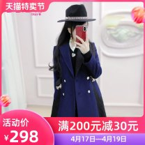 woolen coat Winter of 2019 S M L XL Black and blue (belt) polyester 51% (inclusive) - 70% (inclusive) Medium length Long sleeves commute double-breasted routine tailored collar Solid color Self cultivation QA9W52 The fate of July 7 25-29 years old Exclusive payment of tmall