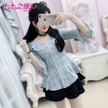 shirt lattice S M L XL Spring of 2018 polyester fiber 96% and above three quarter sleeve commute Regular One word collar Single row multi button Lotus leaf sleeve lattice 25-29 years old High waist type The fate of July 7 Retro QA8S05 Three dimensional decorative button with ruffle stitching strap