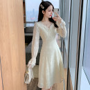 Dress Spring 2021 Apricot S M L XL Mid length dress singleton  Long sleeves commute V-neck High waist Solid color Socket A-line skirt routine 18-24 years old Type A Illyranka Korean version Lace More than 95% Lace other Other 100% Pure e-commerce (online only)