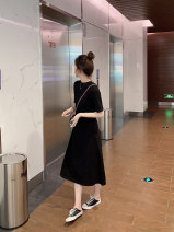 Dress Summer 2021 black XS,S,M,L,XL Mid length dress singleton  Short sleeve commute Crew neck Loose waist Solid color Socket A-line skirt routine 18-24 years old Type A Other / other Korean version LYQ21.312 91% (inclusive) - 95% (inclusive) cotton