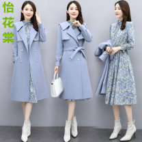 Dress Winter 2020 FAIRY BLUE antique white Xiangfei red M L XL XXL Mid length dress Two piece set Long sleeves commute tailored collar High waist Solid color double-breasted A-line skirt routine Others 25-29 years old Type A Yihuatang Y20D12230 More than 95% Wool polyester fiber