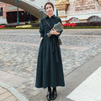 Dress Autumn 2020 Dark green, black, red XS,S,M,L,XL,2XL longuette singleton  Long sleeves commute Polo collar High waist Solid color Single breasted A-line skirt shirt sleeve Type A Korean version Pocket, lace up, button 81% (inclusive) - 90% (inclusive)