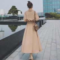 Dress Autumn 2020 XS,S,M,L,XL,2XL longuette singleton  Long sleeves commute V-neck High waist Solid color Socket A-line skirt shirt sleeve Type A Korean version Button 81% (inclusive) - 90% (inclusive)