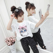 T-shirt White pink black Jiali cat 110cm 120cm 130cm 140cm 150cm 160cm female summer Short sleeve Crew neck leisure time There are models in the real shooting nothing cotton Cartoon animation Cotton 95% polyurethane elastic fiber (spandex) 5% Turban cat Class B Summer of 2019