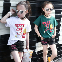 T-shirt White, dark green, black Jiali cat 110cm 120cm 130cm 140cm 150cm 160cm female spring and autumn Short sleeve Crew neck leisure time There are models in the real shooting nothing cotton Cartoon animation Cotton 95% polyurethane elastic fiber (spandex) 5% French fries Class B Summer of 2019
