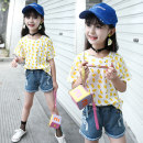 T-shirt Main graph color Jiali cat 110cm 120cm 130cm 140cm 150cm 160cm female summer Short sleeve Crew neck leisure time There are models in the real shooting nothing cotton other Cotton 95% polyurethane elastic fiber (spandex) 5% Little lemon Class B Sweat absorption Summer of 2019 Chinese Mainland
