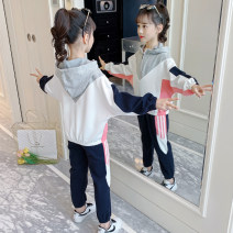 suit Jiali cat Pink and green 110cm 120cm 130cm 140cm 150cm 160cm female spring and autumn motion Long sleeve + pants 2 pieces routine There are models in the real shooting Socket No detachable cap Solid color cotton children Giving presents at school Sports V suit Class B Autumn 2020