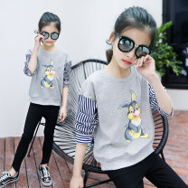 T-shirt Squirrel top Jiali cat 110cm 120cm 130cm 140cm 150cm 160cm female summer Long sleeves Crew neck leisure time There are models in the real shooting nothing cotton Cartoon animation Cotton 95% polyurethane elastic fiber (spandex) 5% Squirrel top Class B Sweat absorption Summer of 2019