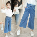 trousers Jiali cat female 110cm 120cm 130cm 140cm 150cm 160cm spring and autumn trousers leisure time There are models in the real shooting Leggings Leather belt middle-waisted Denim Don't open the crotch Other 100% pants Class B Autumn of 2018