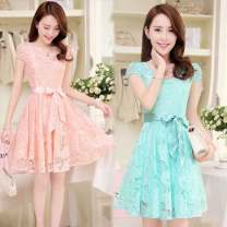 Dress Summer of 2018 Blue, pink, safety pants, white XXL,S,M,L,XL,3XL Middle-skirt other Short sleeve commute other middle-waisted Solid color other Big swing other Others 18-24 years old Other / other Korean version Tassels, stickers, Gouhua, hollowed out, splicing, gauze, zipper, lace other other