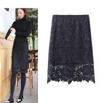skirt Autumn of 2019 S,M,L,XL,2XL,3XL 1-lotus black (60cm), 2-butterfly white (60cm), 3-butterfly black (60cm), 4-roland white (60cm), 5-roland black (60cm), 6-lobular white (60cm) Middle-skirt Sweet High waist Fluffy skirt Solid color Type H Lace 201g / m ^ 2 (including) - 250G / m ^ 2 (including)