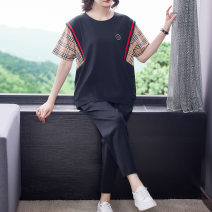 Women's large Summer 2021 Black Collection Plus purchase priority delivery within 8 days after black pre-sale payment XL [120-150 Jin recommended] 2XL [150-175 Jin recommended] 3XL [175-200 Jin recommended] 4XL [200-230 Jin recommended] Other oversize styles Two piece set commute easy thin other