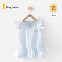 Dress T12j3692 pink t12j3692 blue t12j3692 yellow female Tong Tai 73cm 80cm 90cm Cotton 100% summer leisure time Short sleeve Solid color cotton Lotus leaf edge T12J3692 Class A Summer 2021 6 months 18 months 2 years old Chinese Mainland Hebei Province Xingtai