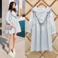 Dress Happy picture Blue Pink M L XL Korean version Long sleeves Medium length spring Crew neck Solid color Pure cotton (95% and above) 1818A