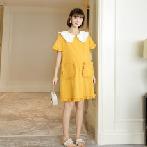 Dress Pregnant grace Pink yellow M L XL Korean version Short sleeve routine summer Lapel Solid color Pure cotton (95% and above) YQ10208