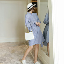 Dress Pregnant grace blue M L XL Korean version Long sleeves Medium length spring stand collar stripe polyester