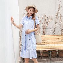 Dress Pregnancy blue stripes MLXL Short sleeve Korean version summer lapel Long section stripe Cotton (95% and above) YQ9022