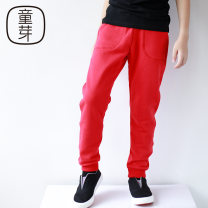 trousers neutral 100cm 110cm 120cm 130cm 140cm 150cm 160cm Grey red black No season trousers leisure time There are models in the real shooting Casual pants Leather belt middle-waisted Pure cotton (100% content) Don't open the crotch Cotton 100% Class B
