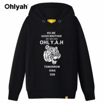Sweater / sweater Autumn of 2018 Black red yellow light grey Pink S M L XL 2XL 3XL Long sleeves routine Socket singleton  routine Hood easy commute routine letter 18-24 years old 96% and above Ohlyah Korean version cotton OLY1721242 Pocket print panel cotton Cotton liner Cotton 100%