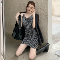 Dress Spring 2021 Black, brown S, M Short skirt singleton  Sleeveless commute V-neck High waist letter Socket A-line skirt camisole 25-29 years old Type A Korean version Backless, chain, asymmetric, printed 71% (inclusive) - 80% (inclusive)