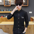 shirt Youth fashion Viettolons S M L XL XXL Cs803 white cs803 black cs803 water blue routine square neck Long sleeves Self cultivation daily Four seasons Cs803-2 teenagers Polyester 100% tide 2017 Solid color Winter 2017 washing Embroidery Pure e-commerce (online only)