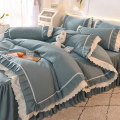 Bedding Set / four piece set / multi piece set Polyester (polyester fiber) other Solid color 128x68 Polyester (polyester fiber) 4 pieces 40 Sheet bed skirt Qualified products Princess style Reactive Print  other