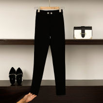 Women's large Autumn of 2018 black XL 2XL 3XL 4XL 5XL trousers singleton  commute Self cultivation moderate Solid color Korean version polyester Three dimensional cutting Admireddkk / moody 25-29 years old pocket Polyester 100% trousers