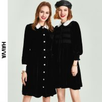 Dress Spring 2021 black S M L XL Middle-skirt singleton  Long sleeves street middle-waisted Single breasted routine 30-34 years old HAVVA 91% (inclusive) - 95% (inclusive) polyester fiber Polyester 93% polyurethane elastic fiber (spandex) 7% Same model in shopping mall (sold online and offline)