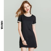 Dress Spring 2021 black S M L XL Short skirt singleton  Short sleeve street Crew neck middle-waisted Solid color Socket One pace skirt routine Others 30-34 years old HAVVA Q54880 More than 95% polyester fiber Polyester 96.5% polyurethane elastic fiber (spandex) 3.5% Europe and America