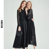 Dress Spring 2021 black S M L XL longuette singleton  Long sleeves street other middle-waisted Solid color other Big swing shirt sleeve 30-34 years old Type A HAVVA Pleated mesh Q4870-434663 More than 95% polyester fiber Polyester 100% Same model in shopping mall (sold online and offline)
