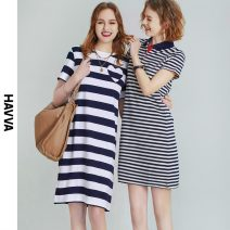 Dress Spring 2021 stripe XS S M L Middle-skirt singleton  Short sleeve street Crew neck Loose waist stripe Socket other routine Others 30-34 years old Type H HAVVA 31% (inclusive) - 50% (inclusive) nylon Same model in shopping mall (sold online and offline) Europe and America