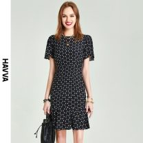 Dress Summer 2021 black XS S M L Middle-skirt Short sleeve street Crew neck High waist other zipper other routine 30-34 years old HAVVA More than 95% Chiffon polyester fiber Polyester 100% Same model in shopping mall (sold online and offline) Europe and America