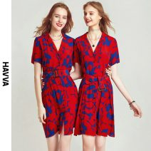 Dress Spring 2021 gules XS S M L Middle-skirt singleton  Short sleeve street V-neck middle-waisted Decor routine Others 30-34 years old HAVVA Q5564 More than 95% polyester fiber Polyester 100% Same model in shopping mall (sold online and offline) Europe and America