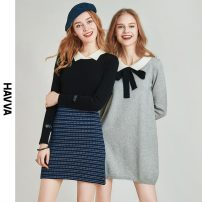 Dress Spring 2021 grey S M L XL Short skirt singleton  Long sleeves street other Loose waist Solid color Lantern skirt routine 30-34 years old Type H HAVVA bow Q4388 31% (inclusive) - 50% (inclusive) acrylic fibres Same model in shopping mall (sold online and offline) Europe and America