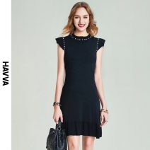 Dress Spring 2021 black S M L XL Short skirt singleton  Sleeveless street Crew neck middle-waisted Solid color Socket Ruffle Skirt routine Others 30-34 years old HAVVA Q7368 31% (inclusive) - 50% (inclusive) nylon Viscose (viscose) 66% polyamide (nylon) 34% Europe and America