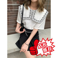 T-shirt Black, white S, M Summer 2021 Short sleeve Admiral Straight cylinder Regular routine polyester fiber 96% and above 18-24 years old originality Solid color DTEDITION D3718 - D3 Embroidery, embroidery