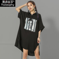 Dress Summer 2020 Black and white M L Middle-skirt singleton  elbow sleeve street stand collar Loose waist character Socket Irregular skirt Bat sleeve 30-34 years old Type H Yalosiphy / yalosiphy Asymmetric printing More than 95% other Other 100% Europe and America