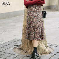 skirt Winter 2020 S M L Decor longuette commute High waist A-line skirt Broken flowers Type A 18-24 years old MT0224 More than 95% corduroy Moxa rabbit polyester fiber printing Polyester 100% Exclusive payment of tmall