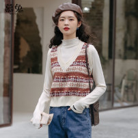 Vest Winter 2020 Orange light coffee Average size routine V-neck commute Solid color MT0312 other 18-24 years old Moxa rabbit 30% and below acrylic fibres Viscose fiber (viscose fiber) 75% polyurethane elastic fiber (spandex) 25% Exclusive payment of tmall