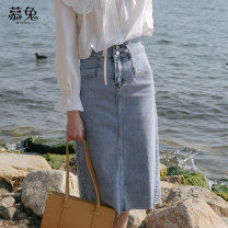 skirt Summer 2021 S M L Light blue Mid length dress commute High waist Denim skirt Solid color Type A 18-24 years old MT0849 More than 95% Denim Moxa rabbit cotton pocket Cotton 98% other 2% Pure e-commerce (online only)
