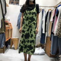 Dress Summer 2021 Grey, apricot, green Average size longuette singleton  Sleeveless commute V-neck Loose waist Decor Socket A-line skirt routine camisole 18-24 years old Type A Korean version printing 71% (inclusive) - 80% (inclusive) other polyester fiber