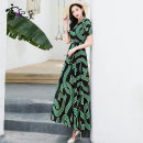 Dress Summer 2020 green S M L XL XXL XXXL longuette singleton  Short sleeve commute Crew neck middle-waisted Decor Socket Big swing other Others 30-34 years old Type A Snow Princess Retro Ruffle pleated lace up zipper print LYQ-19385 More than 95% Chiffon polyester fiber Polyester 98% other 2%