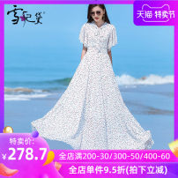 Dress Summer 2020 Dot on white background S M L XL XXL XXXL longuette singleton  Short sleeve commute other middle-waisted Dot Socket Big swing other Others 30-34 years old Type A Snow Princess lady Bow and ruffle pleated zipper print LYQ-19255 More than 95% Chiffon polyester fiber